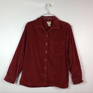 L.L Bean Petites Women's Shirt Corduroy Red